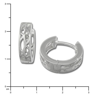 SilberDream Ohrringe Creole Muster Oval 925 Sterling Silber Ohrring SDO3305 -