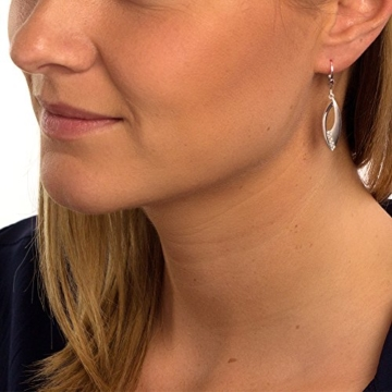 SilberDream Ohrringe Ohrhänger Blätter Zirkonia weiß aus 925er Sterling Silber Damen Ohrring SDO366M -