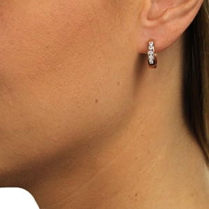 SilberDream Ohrschmuck Creole - rose vergoldet - Zirkonia weiß - Ohrring aus 925er Sterling Silber SDO0045WE -