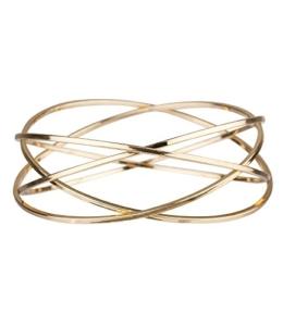 """SIX """"Trend"""" gold farbener Armreif, aus vier fest verbundenen Reifen bestehend, Damen Arm Band Schmuck, 6,7 cm (442-453) -"""