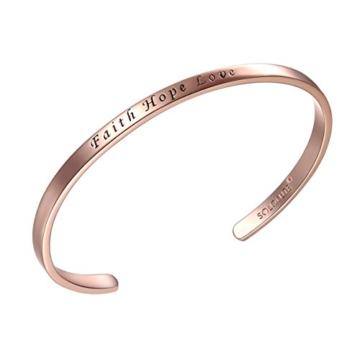 "SOLOCUTE Rosegold Damen Armband mit Gravur ""Faith Hope Love"" Inspiration Frauen Armreif Schmuck -"
