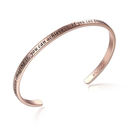 "SOLOCUTE Rosegold Damen Armband mit Gravur ""If You Can Imagine It, You Can Achieve It. If You Can Dream It, You Can Become It"" Inspiration Frauen Armreif Schmuck -"