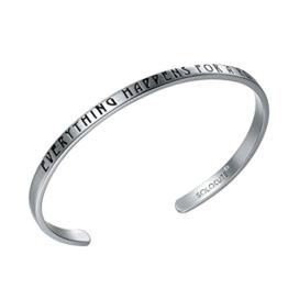 "SOLOCUTE Silber Damen Armband mit Gravur ""Everything Happens For A Reason"" Inspiration Frauen Armreif Schmuck -"