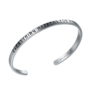 "SOLOCUTE Silber Damen Armband mit Gravur ""Everything Happens For A Reason"" Inspiration Frauen Armreif Schmuck -"