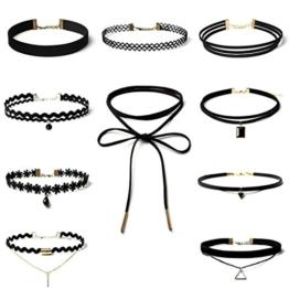 Sunnywill 10 Stück Choker Halskette Set Stretch samt klassische gotische Tattoo Spitze Choker für Frauen Mädchen Damen -