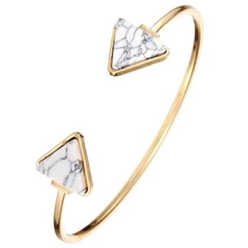 Sunnywill Retro-stilvolle offene Armreif Dreieck Marmor Türkis Stein Manschette Armband Schmuck für Frauen Mädchen Damen (Weiß) -