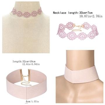 Tpocean 9pcs Rosa Choker Halskette Set Lolita Blumen spitze Tätowierung Samt Kragen Choker Gold Kette Halskette Schmuck für Frauen Damen 90s -