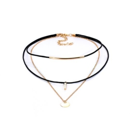 Tpocean Drei schichtig Schwarze PU-Leder Choker Halskette Gold Ketten Halskette Mit vergoldeten kreisförmigen Anhänger Mode Joker Schlüsselbein Halskette für Frauen Mädchen Damen -
