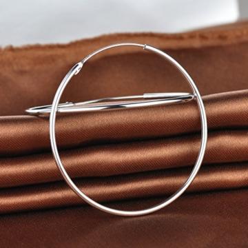 Unendlich U Fashion Simpel Poliert Matt Rund 50mm Creolen 925 Sterling Silber Damen Ohrringe Ohrhänger Ohrschmuck -