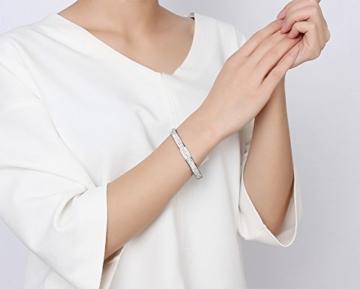 Vnox Edelstahl Cubic Zirkonia Strass Gepflasterte Ewigkeit Armreif Armband für Frauen,Silber,20.3cm -