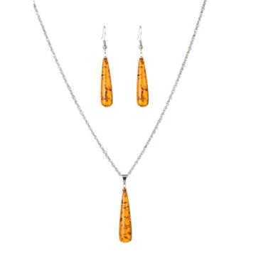 YAZILIND Frauen natürlich orange Bernstein Ohrring Heilung Chakra Reiki-Anhänger Kollier Schmuckset -