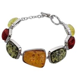 YAZILIND Frauen-Weinlese-Silber überzogene orange Bernstein-Armband-Armbänder Schmuck Geschenke -