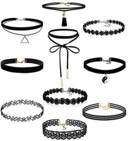 Yidarton 10 Stück Choker Halsketten Set Velvet Halskette Tattoo Halsband, Schwarz -