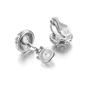 Yoursfs Ohrclips damen Runden Kreisförmige ohne ohrloch Weiß Kleid Ohrringe Schmuck mit 18K Weißegold vergoldet künstlichem Diamente Valentinstage Geschenk für Damen Frauen Mädchen -