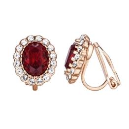 Yoursfs Prinzessin Kate Große Rubin Rote Ohrclips/Ohrringe mit 18K Rosegold Überzogene Elegante Kleid Schmuck für Damen Frauen Mädchen -
