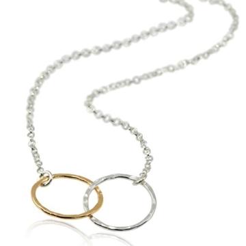 Zwei-Ton-Ewigkeits-Halskette, 925erSterlingsilber & 14Karat Goldgefüllt, 45,7cm -