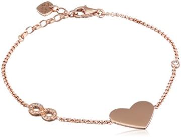 Thomas Sabo Damen-Armband Herz und Unendlichkeit 925 Silber Zirkonia weiß 19.5 cm - A1486-416-14-L19,5v -