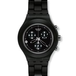 Uhr Swatch Irony Chrono SVCF4000AG Quarz (Batterie) PVC Quandrante schwarz Armband Aluminium -