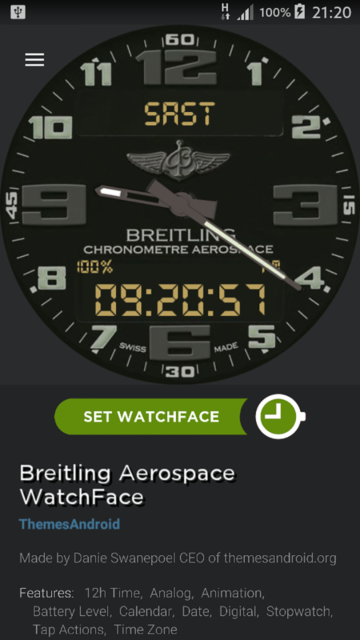 Breitling Aerospace World Timer Watch Face Android wear wmwatch - 3