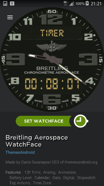 Breitling Aerospace World Timer Watch Face Android wear wmwatch - 4