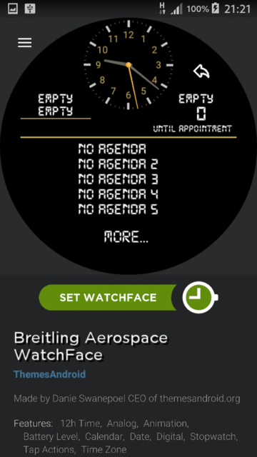 Breitling Aerospace World Timer Watch Face Android wear wmwatch - 5