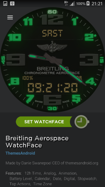 Breitling Aerospace World Timer Watch Face Android wear wmwatch - 6
