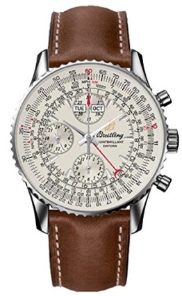 Breitling Montbrillant Datora/Uhr/Herren Zifferblatt Silber/Stahl-Gehäuse/Armband Leder braun - 1