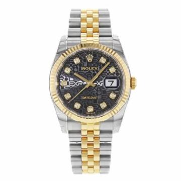 Rolex Datejust 116233BKJDJ Herren-Armbanduhr, 18 Karat Gelbgold, Stahl - 2
