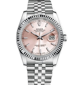 Rolex Datejust Armbanduhr, 36Edelstahl, rosa Zifferblatt, 116234 - 1