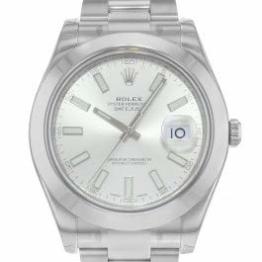 Rolex Edelstahl Automatisch Datejust Silber Herren Uhr Stahl Zifferblatt II - 1