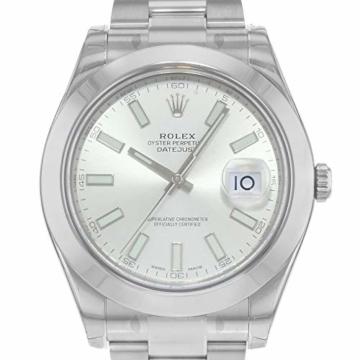 Rolex Edelstahl Automatisch Datejust Silber Herren Uhr Stahl Zifferblatt II - 2